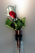 Olive  Glass Art - Bottle Stopper 09 by Crush Creations