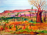 Red Jewelry Prints - Bottle Tree in the Kimberley Northern Territory Australia Print by Roberto Gagliardi