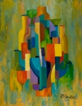 Cubist Paintings - Bottles and Glasses by Larry Martin