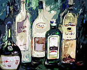 Wine Glass Mixed Media Posters - Bottles by Ginette Poster by Ginette Callaway