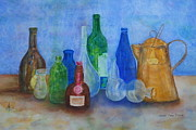 Ice Wine Painting Posters - Bottles Collection Poster by Anna Ruzsan