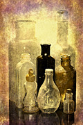 Old Relics Digital Art Posters - Bottles From The Past Poster by Phyllis Denton