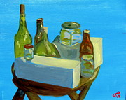 Boxes Paintings - Bottles in Blue by Greg Mason Burns