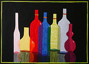 Fiber Art Tapestries - Textiles Prints - Bottles Print by Jo Baner