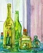 Wine Glasses Paintings - Bottles - Shades of Green by Anna Ruzsan