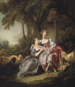 With Love Framed Prints - Boucher, François 1703-1770. The Love Framed Print by Everett