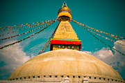 Landscape Metal Prints Prints - Boudhanath Stupa in Nepal with blue sky Print by Raimond Klavins