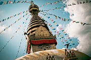 Prayer Pyrography Prints - Boudhnath Stupa in Nepal Print by Raimond Klavins