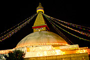 Town Square Prints - Boudnath Stupa in Nepal at night Print by Raimond Klavins