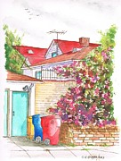 Garage Paintings - Bougainvilleas and trash cans in Westwood - California by Carlos G Groppa