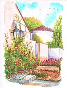 Post Cards Painting Originals - Bougainvilleas in Courney Ave - Hollywood Hills - California by Carlos G Groppa