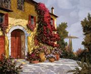 Red Flowers Painting Posters - Bouganville Poster by Guido Borelli
