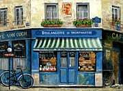 Bicycle Art Posters - Boulangerie de Montmartre Poster by Marilyn Dunlap