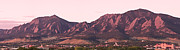 Flatirons Posters - Boulder Colorado Flatirons 1st Light Panorama Poster by James Bo Insogna