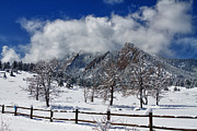 Winter Prints Framed Prints - Boulder Colorado Flatirons Snowy Landscape View Framed Print by James Bo Insogna
