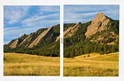 Flatirons Posters - Boulder Colorado Flatirons White Window Frame Scenic View Poster by James Bo Insogna