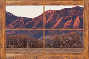 Colorful Photos Posters - Boulder Flatirons Morning Barn Wood Picture Window Frame View Poster by James Bo Insogna