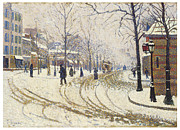 Winter Scene Paintings - Boulevard de Clichy Snow by Paul Signac
