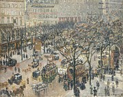 Parisian Street Scene Framed Prints - Boulevard des Italiens Morning Sunlight Framed Print by Camille Pissarro