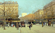 Parisian Street Scene Framed Prints - Boulevard Haussmann in Paris Framed Print by Eugene Galien-Laloue