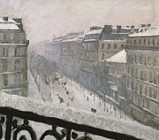 Paris Paintings - Boulevard Haussmann in the Snow by Gustave Caillebotte