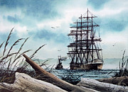 Tall Ship Painting Prints - Bound for Blue Water Print by James Williamson