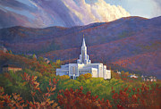 Lds Painting Originals - Bountiful Temple in the mountains by Rob Corsetti