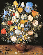 Clay Digital Art Posters - Bouquet in a Clay Vase Poster by Jan Brueghel