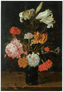 Roemer Framed Prints - Bouquet in a roemer Framed Print by Jan Baptist Van Fornenburgh