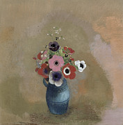 Floral Prints Prints - Bouquet of anemones Print by Odilon Redon