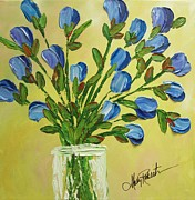 Vase Of Flowers Painting Prints - Bouquet Of Blue Print by Molly Roberts