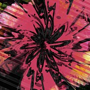 Pen Digital Art - Bouquet  of Chrysanthemums Abstract by Liane Wright
