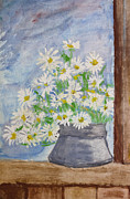 Aquarelle Framed Prints - Bouquet of daisies painting Framed Print by Kiril Stanchev