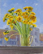 Flowers Painting Originals - Bouquet of dandelions by Victoria Kharchenko