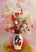Flora Painting Prints - Bouquet of Flowers in a Japanese Vase Print by Odilon Redon