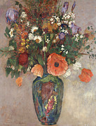 Floral Prints Prints - Bouquet of Flowers in a Vase Print by Odilon Redon