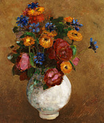 Still Life Prints Framed Prints - Bouquet of Flowers in a White Vase Framed Print by Odilon Redon