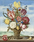 Ledge Digital Art Prints - Bouquet of Flowers on a Ledge Print by Amrrosius Bosschaert
