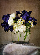 Sympathy Prints - Bouquet of irises roses and daises  Print by Elena Nosyreva