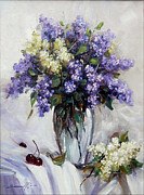 Romania Paintings - Bouquet of Lilac by Petrica Sincu