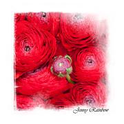Bouquet Of Red Ranunculus. Elegant Knickknacks Print by Jenny Rainbow Elegant KnickKnacks