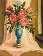 Rosebud Paintings - Bouquet of red roses by Kiril Stanchev