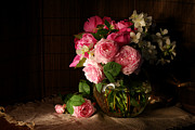 Still Life Art - Bouquet of roses and jasmine by Anna Aybetova