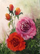 Neutral Background Paintings - Bouquet of Roses by Barbara Haviland