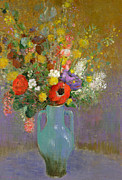 Floral Prints Prints - Bouquet of Wild Flowers  Print by Odilon Redon