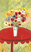 Impressionism Tapestries - Textiles Metal Prints - Bouquet on Red table Metal Print by Maggie Miller