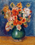 Without Framed Prints - Bouquet Framed Print by Pierre Auguste Renoir