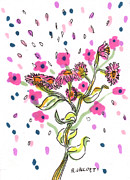 Spray Drawings - Bouquet by Regina Valluzzi
