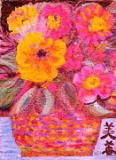 Chinese Characters Paintings - Bouquet with Chinese Characters by Anne-Elizabeth Whiteway
