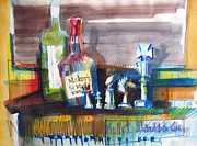 Bottle Cap Painting Posters - Bourbon and Chess Poster by Marc L Gagnon